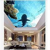 Pbldb Unterwasserwelt Marine Angepasste 3D-Tapete 3D-Decken-Tapeten-Wandbilder Marine Coral Shark Wohnzimmer Schlafzimmer Decke Decke Fresken Dekoration-350X250Cm