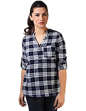 KRISP Camisa Mujer Manga Larga Blusa Cuadros Algodón Otoño 2017 Talla Grande