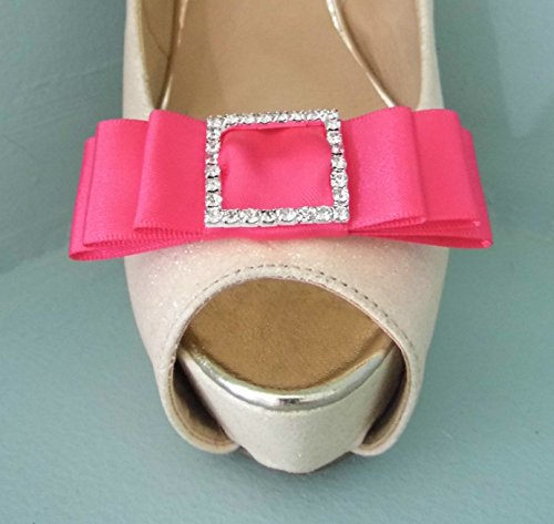 handmade-cerise-pink-satin-bow-shoe-clips-with-diamante-buckle-centre