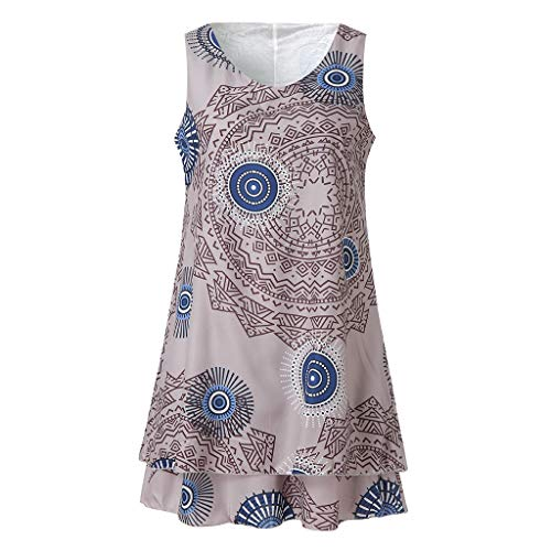 ize Print Midi Kleid Lose Shift Sleeveless Tank Weste Sun Dress (XXXX-Large, Khaki) ()
