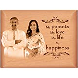 TheLoveMoments - Parents Mom DAD Personalised Gift - Wooden Photo Frame By Engraving Process 4 Inch X 5 Inch