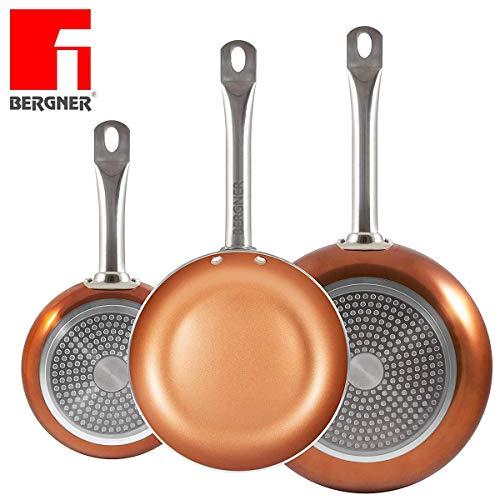 ¡Los originales Chef Copper Plus! Juego de 3 sartenes con revestimiento de cobre ultra resistente - 100{053139fbc1723a339ad81c365c1330480e612dcc3820d3f04fc5afc894f4ae8e} libre de PFOA - 20/24/28 cm - También aptas para horno, cocina de gas e inducción - 1165