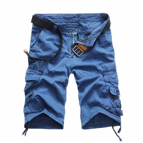 crazyplayer Herren Strand Cargoshorts Cargobermudas Kurze Hose mit mehrere Tasche aus reine Baumwolle Leicht Dünn in Grau Grün Blau (Hose Blau-grüne)