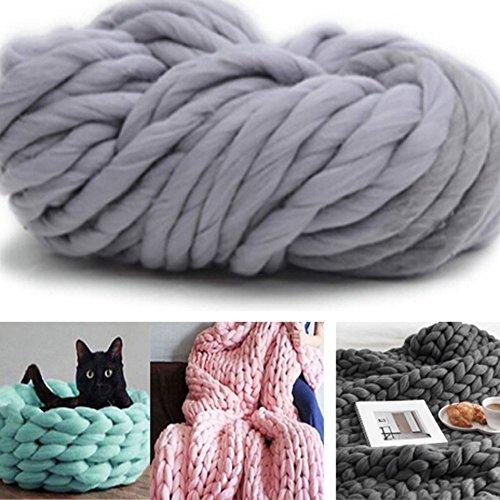 BluShell 100% non-mulesed Chunky Wolle Chunky Garn für Schal/Mütze, dicke Knitted Garn für DIY Handwerk grau (Chunky Garn Muster)