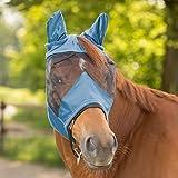 WALDHAUSEN Fliegenmaske Premium mit Ohrenschutz, Warmblut, taubenblau