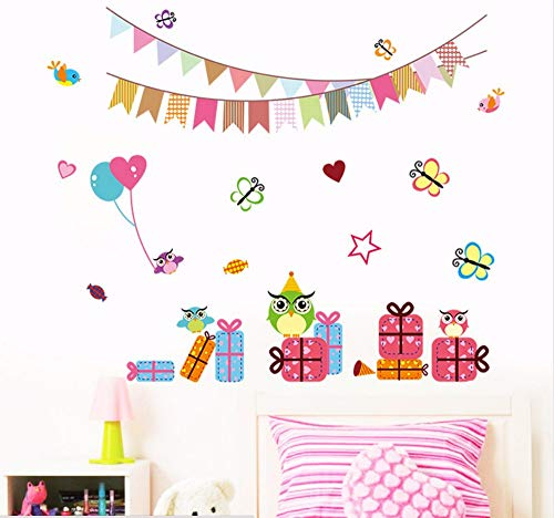 rfly Gift Box Wall Stickers For Kids Room Nursery Wall Art For Birthday Party Decoration Kids Wallpaper Poster ()