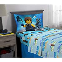 LEGO Movie 2 Kids Bedding Soft Microfiber Sheet Sets Twin Size 3 Piece Pack Blue