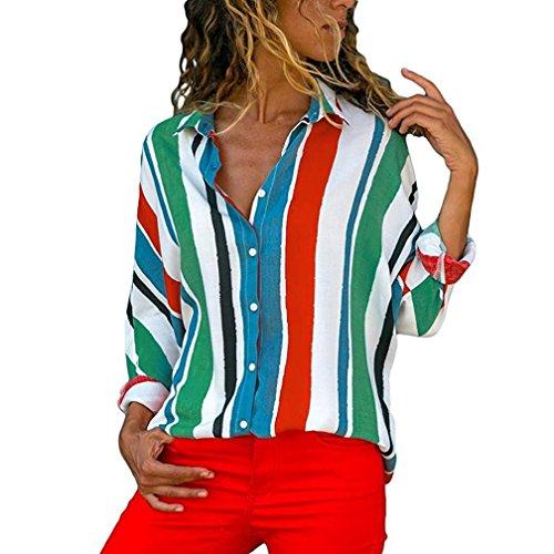 ODRD  S-XL Womens Casual Farbblockstreifen Taste T-Shirt Sport Tragen Sie einen lässigen Anzug Tops Frauen Sommer Streifen PrintedLoose Casual Top T-Shirt Blusen Maxi Kleid (XL, Mehrfarbig)