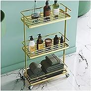 ZHANWEI Bathroom Shelves Shower Organiser Metal 3 Tiers Cosmetic Storage Rack Multifunction Trolley Towel Rack