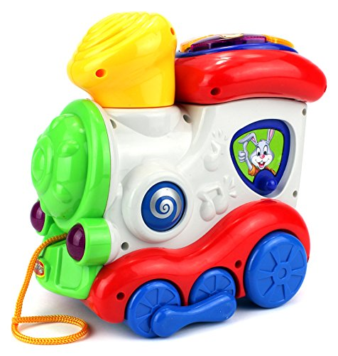 Fun Music Locomotive Pull Along Toy Train w/ Lights, Music, Animal Sounds (Colors May Vary)