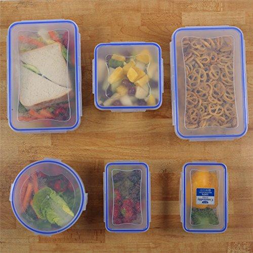 Zuvo: wiederverwendbar Frischhaltedosen mit Deckel–6pcs Set, Clip & Lock, Mikrowelle Gefrierschrank & spülmaschinenfest, auslaufsicherer & Crack Proof, BPA-frei (rechteckig, quadratisch, rund, klar Box, blau Clip)