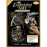 Royal & Langnickel GOLF-SET2 - Engraving Art/Kratzbilder, DIN A4, Wilde Tiere, 3-teilig Vorteilspack, gold