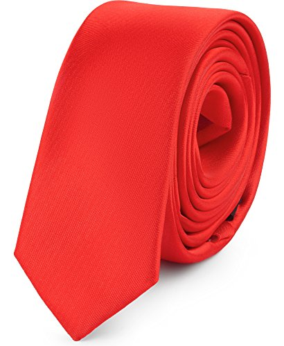 Ladeheid Herren Schmale Krawatte SP-5 (150cm x 5cm, Rot)