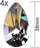 Kristall Sonnenfänger 4er Set Sonnen Kristallglas Tropfen 38mm zum Aufhängen als Fensterschmuck & zum Basteln Fengshui 30% PbO Bleikristall Mobiles