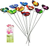 Homgaty 7cm 10Pcs Colourful Garden Butterflies On Sticks Plant Decoration Craft With Butterfly Bookmark