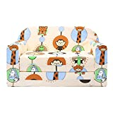 LULANDO Classic Kindersofa Kindercouch Kindersessel Sofa Bettfunktion Kindermöbel zum Schlafen und Spielen ZOO Ecru - 2