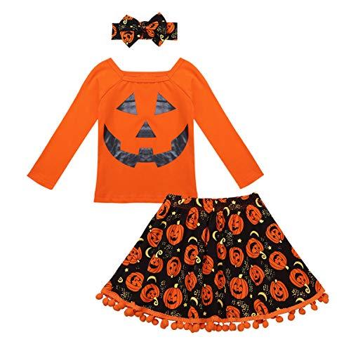 (iixpin Neugeborenes Baby Mädchen Bekleidungsset Outfits Kürbis Halloween Kostüm Langarm T-Shirts mit Kürbis Röckchen + Stirnband Set Orange 104-110)