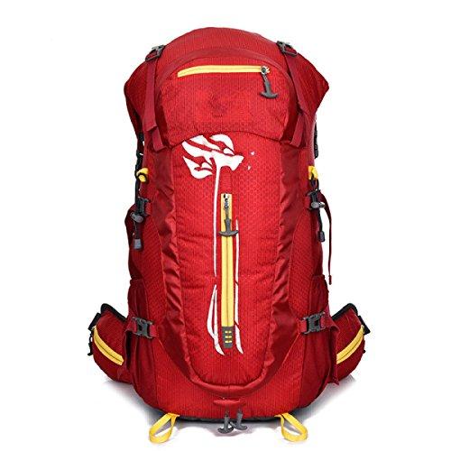 LQABW Große Kapazitäts-Bergsteigen Rucksack Mit Stent-Reisen Wasserdicht Reduced Erdbebensicher Rucksack Tasche Red