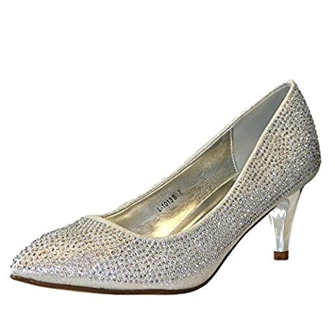 Rock on styles Ladies Silver Wedding Bridal Prom Party Low Kitten Heel Diamante Court Shoes pumps Size (UK 7 / EU