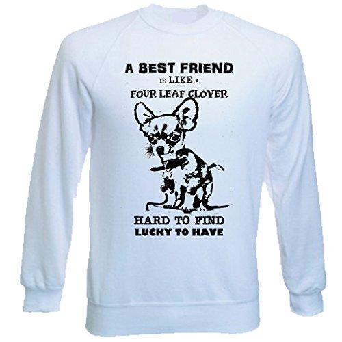 Teesquare1st Men's CHIHUAHUA BEST FRIEND PB 5 White Sweatshirt T-Shirt Size Large