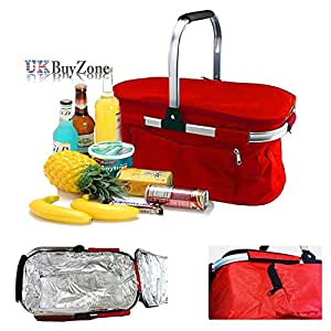 30L Insulated Folding Picnic Camping Shopping Cooler Cool Hamper Basket Bag Box (Red)