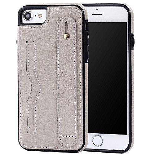 iPhone 5/5S/SE Case Hülle mit Kartenfach Kredit Karten Hülle Kunst Leder Handy Schutzhülle von Harrms, Stil 2 - Weiß