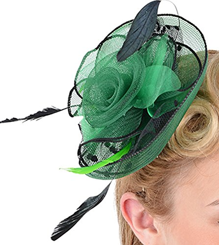 Unbekannt Damen Fascinator Nancy Feather Tulle Pin Up Haarschmuck Durchmesser ca. 15cm
