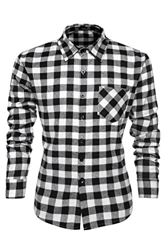 Coofandy Shirt da uomo a maniche lunghe plaid camicia di cotone di svago button down