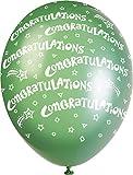 """Unique Party Supplies Luftballons mit Perlglanzeffekt, aus Latex, 30,5cm, """"Congratulations""""-Aufdruck, 5Stück"""