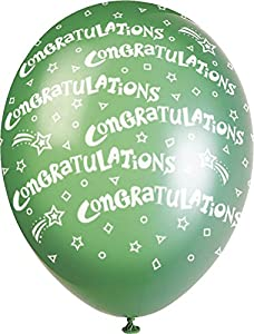 "Unique Party Paquete de 5 globos perlados de látex para fiesta""Congratulations"", Multicolor, 30 cm 80228"