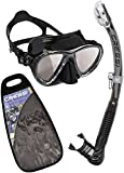Cressi Big Eyes Evolution & Alpha Ultra Dry - Professional Combo Set per Immersioni e Snorkelling, Nero/Lenti HD [Prodotto in Italia]