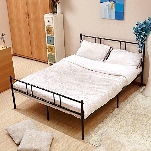 4FT6 Double Bed Frame in Black,Eggree Solid Large Metal Beds Base Bedstead,196cm x 142 cm