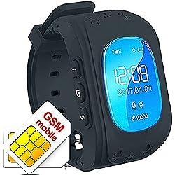 Hangang Reloj para Niños GPS Rastreador niños reloj de pulsera teléfono SIM anti-lost SOS pulsera Parent control por iPhone iOS y Android Smartphone Q50