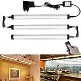 GEEDIAR 3 LED Schrankleuchten mit Fernbedienung Unterbauleuchte Küche Regale Schrank Beleuchtung 4W Silber Aluminium-Gehäuse Netzbetrieben, dimmbar Warmweiß Lichtfarbe, selbstklebend