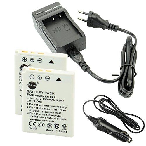 DSTE(2 Pack) Ersatz Batterie EN-EL8 ENEL8 + Reise Ladegerät Compatible für Nikon Coolpix P1,P2,S1,S2,S3,S5,S6,S7,S8,S9,S50,S51,S52,Cool-Station MV-11,MV-121 Kamera (En-el8)