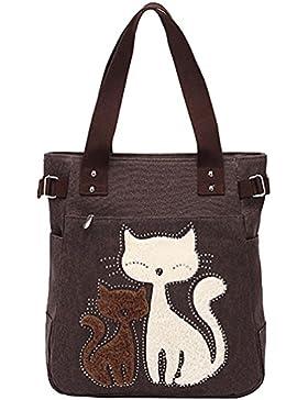 Ghlee Frauen Segeltuch-Handtaschen-nette Katzen-Totes-Schulter-Beutel-Einkaufstasche Mama-Tasche