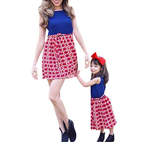 Livoral Mommy & Me Baby-Familie Sommer Ärmel Splice-Kleid(Rot(Baby),90)