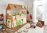 Relita Spielbett Toms Hütte und Bett Kim Buche massiv natur geölt. Textilset Dschungel