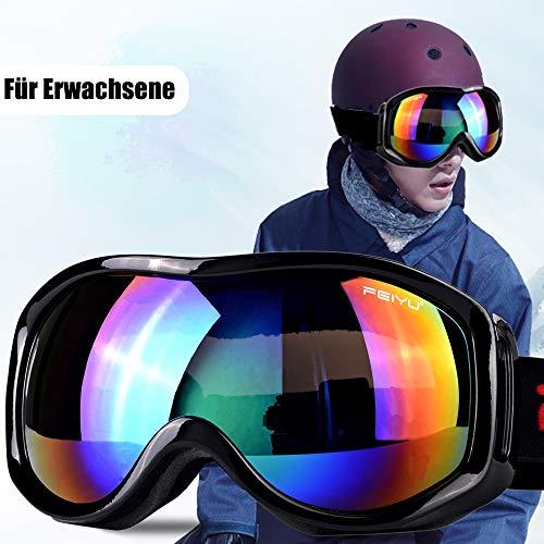 TBoonor Skibrille für Kinder Snowboardbrille für Wintersportarten ski Goggles UV400-Schutz & Windwiderstand Snowboard Brille zum Skifahren und Bergsteigen (Schwarz 2)