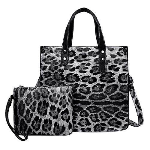 Mitlfuny handbemalte Ledertasche, Schultertasche, Geschenk, Handgefertigte Tasche,Mode Dame Classic Retro Wild Leopard Umhängetasche Messenger Bag + Clutch Bag
