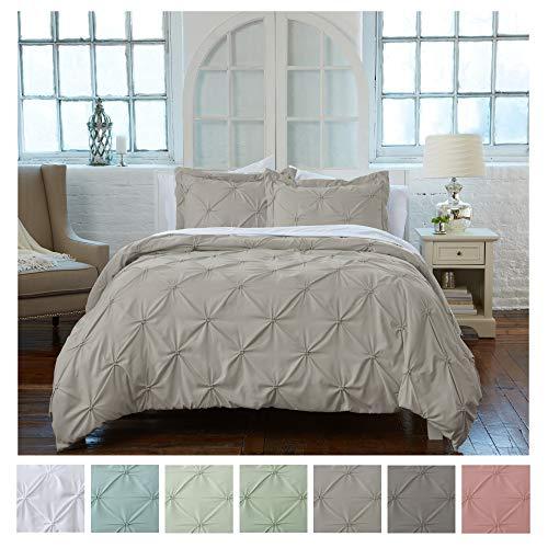 Bay Bettwäsche (Tolles Bay Home mit Biesen Bettbezug mit Knopfverschluß. 100% Mikrofaser mit schönen mit Biesen Design King Taupe)