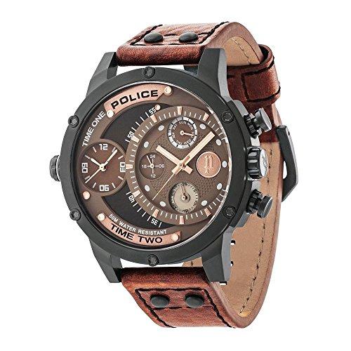 9d30194599f4 Police 14536JSB 12A - Reloj mecánico para hombre con pantalla analógica de  esfera marrón y