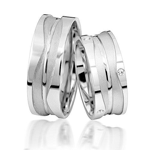 JC Eheringe Verlobungsringe Trauringe Freundschaftsringe Silber 925 Sterling *inkl. GRATIS Etui und Steine* S012-S Ehering Stein