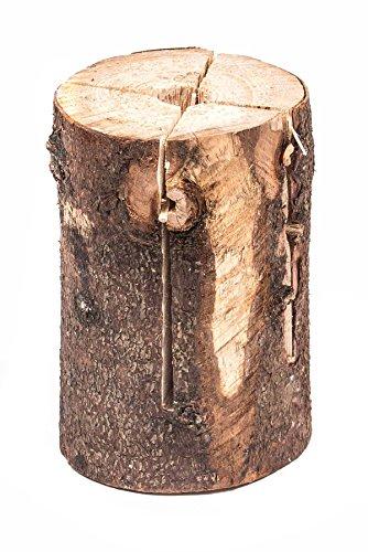 #Schwedenfeuer, naturbelassener Holzstamm bearbeitet mit Zünder, dekorativ, 2-teilig#
