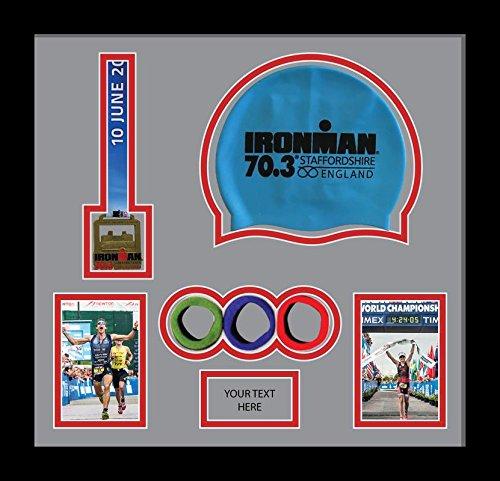 Kwik Picture Framing Ltd Ironman Staffordshire 70.3 Triathlon Marathon, Running Medal Swimming caps Display Frame, Grey Mount - Black Frame