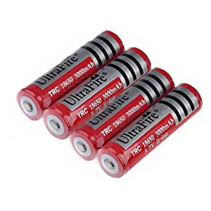 Foxnovo 4pcs UltraFire 18650 3.7V 3000mAh IC Protected Rechargeable Li-ion Batteries 18650 Battery Travel Charger Set