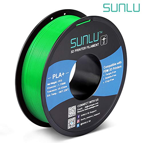 SUNLU PLA Plus 3D Filament 1.75mm for 3D Printer & 3D Pens, 1KG (2.2LBS) PLA+ Filament Tolerance Accuracy +/- 0.02 mm, Green