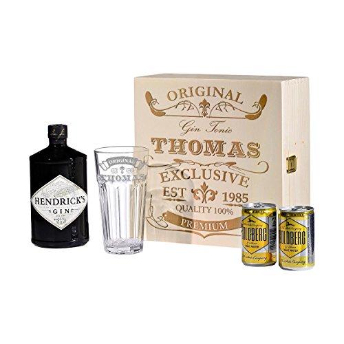 polar-effekt 5-TLG Gin & Tonic Geschenk-Set mit Hendricks - Longdrink-Glas in Geschenkbox mit Gravur - Motiv Original Exclusive