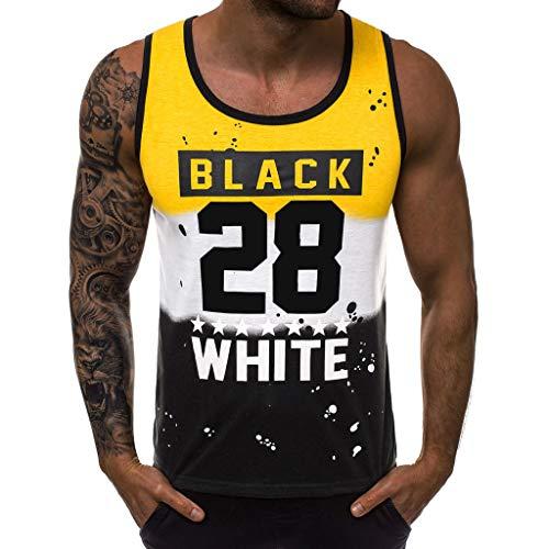 UFODB Männer Tanktop Fitness,Herren Tank Tops Funktionelle Sport Bekleidung T Shirts Bodybuilding Muskelshirt Tanktops Tankshirt Laufen Workout Unterhemden Camisole Tops (S, a-Gelb) -