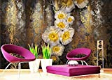 Fototapete 3D Tapete Klassische Hintergrund Klassischen Blume Gemälde 3D Effekt Moderne Vlies Wandbilder Dekoration